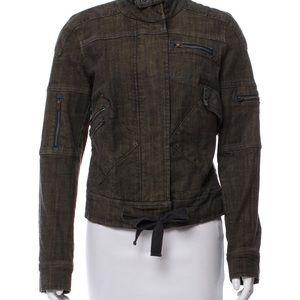 Free People Brown Denim Zip-Up Jacket